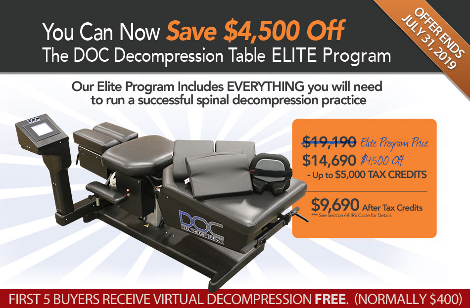 Save $4,500 off the DOC Decompression Table Elite Marketing Program